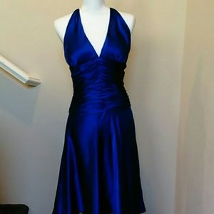 Royal Blue Cache 100% Silk Halter Dress Size 8